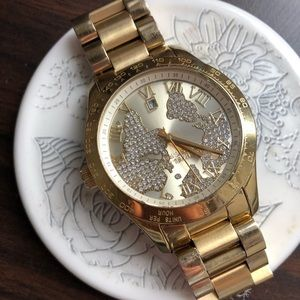 Gold Michael Kors diamond world map watch